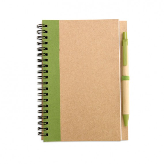 Σημειωματάριο και στυλό από ανακυκλωμένο χαρτί.
