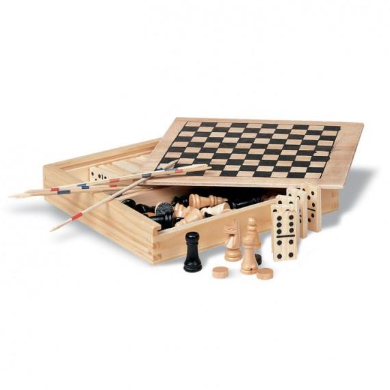 Ξύλινο κουτί με 4 παιχνίδια.