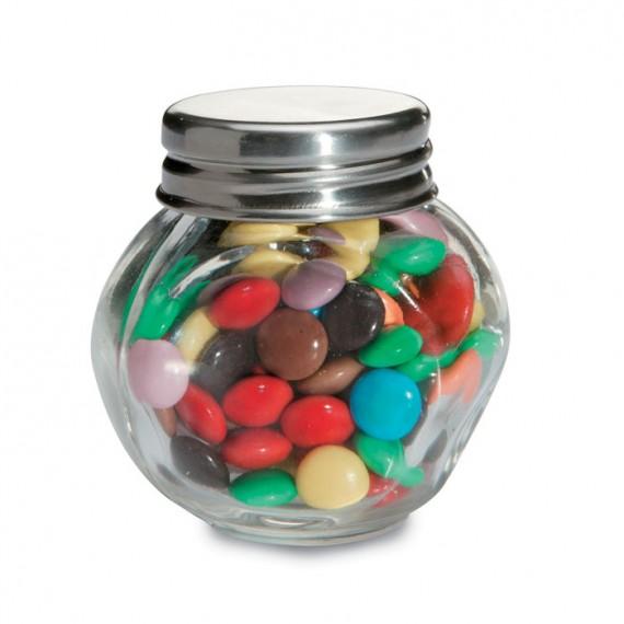 Σοκολατάκια σε γυάλινο βάζο.