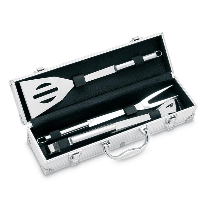 3 εργαλεία BBQ σε θήκη από αλουμίνιο.