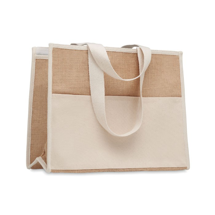 Cooler bag από γιούτα και καμβά.