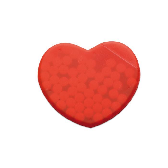 Κουτί με καραμέλες μέντας σε σχήμα καρδιάς.