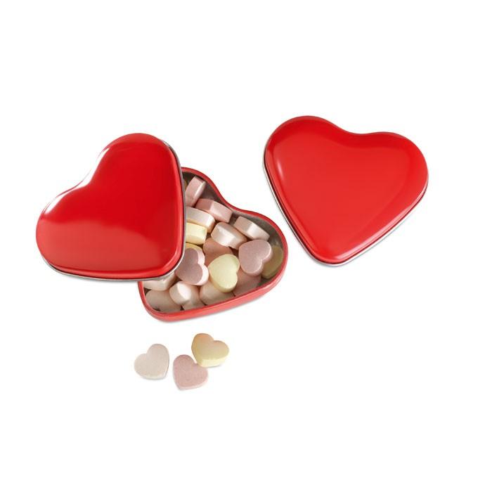 Μεταλλικό κουτί με καραμέλες, σε σχήμα καρδιάς.