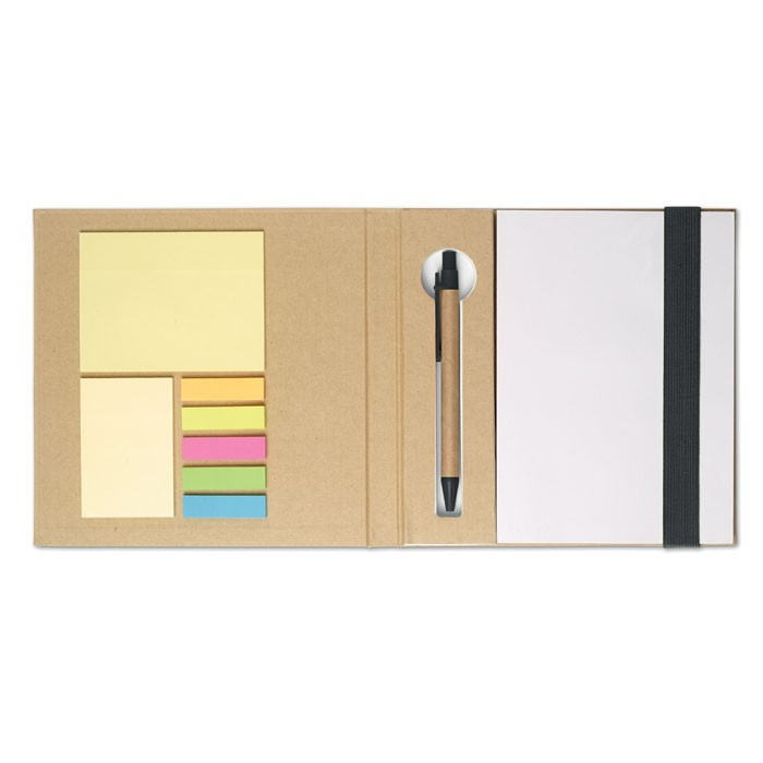 Σημειωματάριο με sticky notes και στυλό.