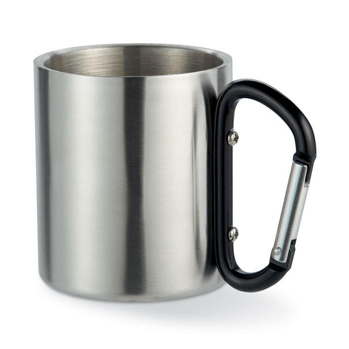 Μεταλλική κούπα με λαβή καραμπίνερ.