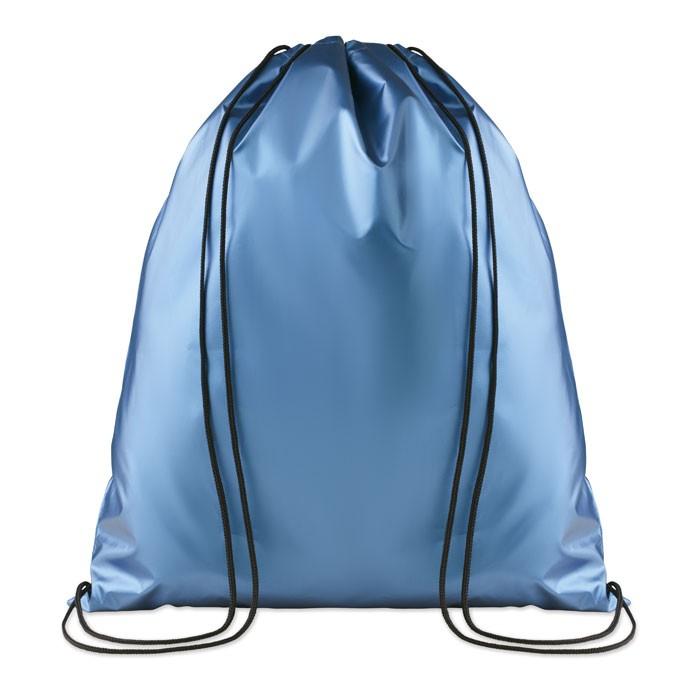 Γυαλιστερή τσάντα πλατής με κορδόνι.