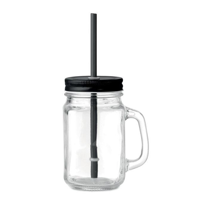 Γυάλινο ποτήρι με καλαμάκι.