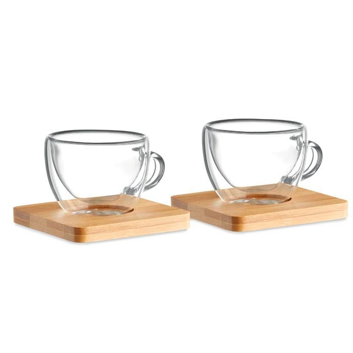 Σετ από δύο ποτήρια espresso διπλού τοιχώματος.
