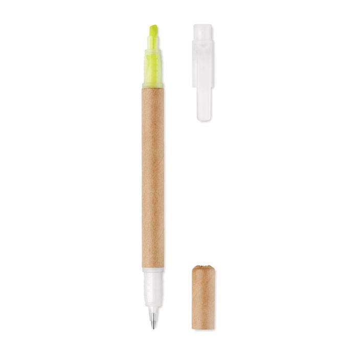 Στυλό 2 σε 1 με κίτρινο highlighter.